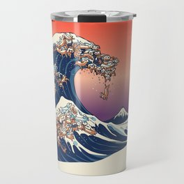 The Great Wave of Dachshunds Travel Mug