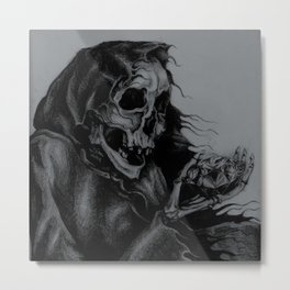 Skeleton Holding Diamond Metal Print