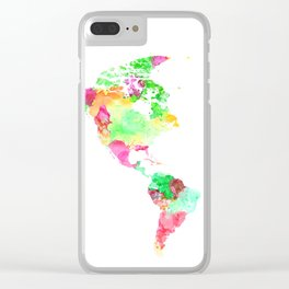 World Map Watercolor #1 Clear iPhone Case