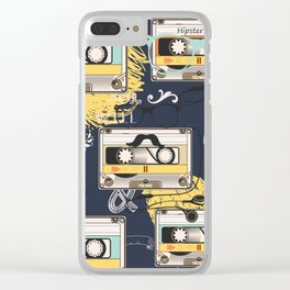 Fashion hipster pattern with cassette on shabby background Clear iPhone Case