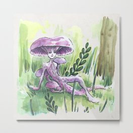 Empire of Mushrooms: Laccaria Amethystina Metal Print