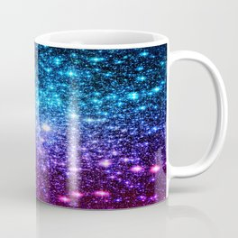 Glitter Galaxy Stars : Turquoise Blue Purple Hot Pink Ombre Coffee Mug