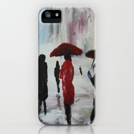 The Girl With The Red Umbrella Impressionist Fine Art iPhone Case
