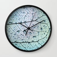 aqua Wall Clocks featuring aqua by Ingrid Beddoes