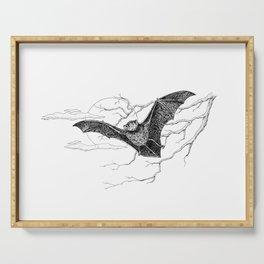 """Night Flight"" Bat Halloween Pen and Ink Study Serving Tray"