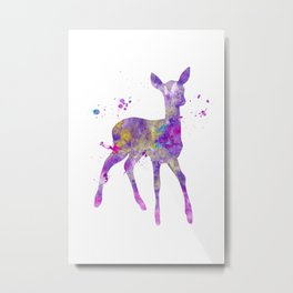 Purple Fawn Watercolor Painting Metal Print