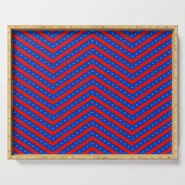Red and Blue Chevron Serving Tray