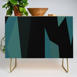 teal and black abstract Credenza