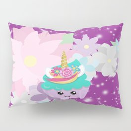 Unicorn Cupcake Sparkles Background Pillow Sham