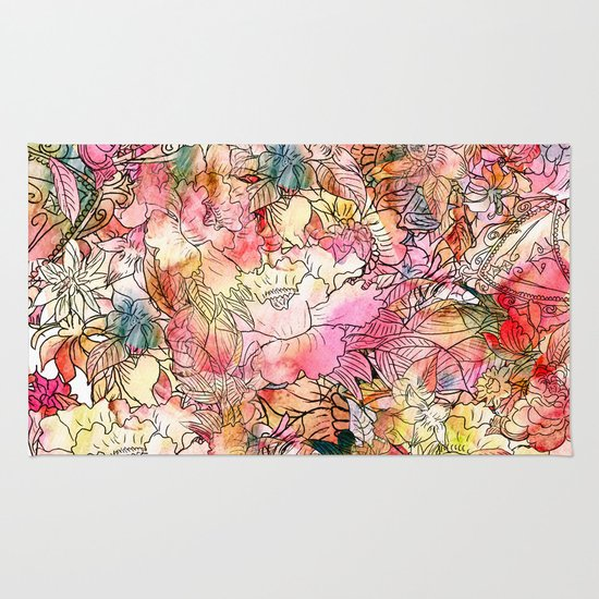 Summer Flowers Colorful Watercolor Floral Pattern