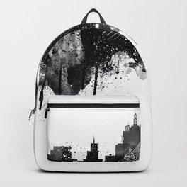Dallas TexasBlack White Skyline Poster Backpack