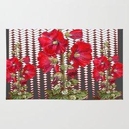 MODERN ART RED HOLLYHOCKS BOTANICAL Rug
