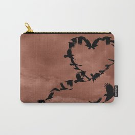 Heart of Crows Black Bird Raven Mauve A276 Carry-All Pouch