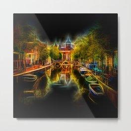 Fractal Amsterdam Night Glow UV Metal Print