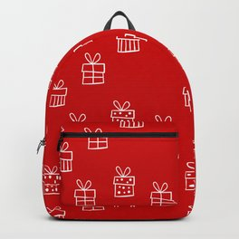 White Christmas gift box pattern on Red background Backpack