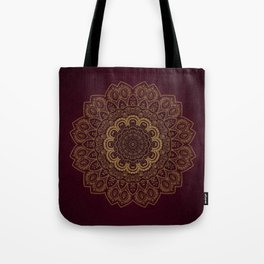 Gold Mandala on Royal Red Background Tote Bag