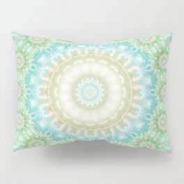 Earth and Sky Mandala in Pastel Blue and Green Pillow Sham