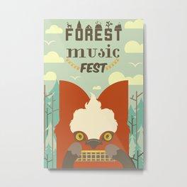 Forest Music Fest Harmonica Fox Metal Print