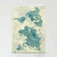 vintage map Stationery Cards featuring World Map Blue Vintage by City Art Posters