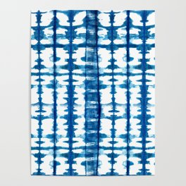 Mudcloth Tie Dye in Blue Poster