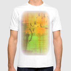 Untitled Digital Abstract - Green and Yellow MEDIUM White Mens Fitted Tee