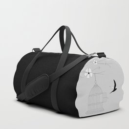 Bird and open cage Duffle Bag