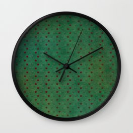 """Porstroke, Teal Shade Pattern & Red polka dots"" Wall Clock"