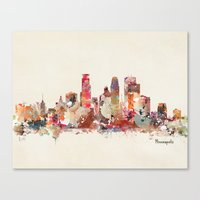 minnesota Canvas Prints featuring Minneapolis Minnesota by bri.buckley