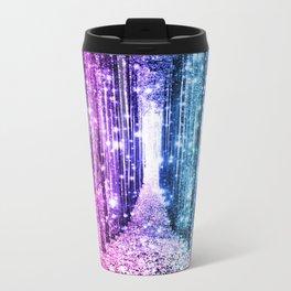 Magical Forest : Aqua Periwinkle Purple Pink Ombre Sparkle Metal Travel Mug