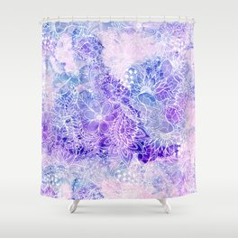 Modern purple pastel pink peacock watercolor hand drawn white floral pattern Shower Curtain