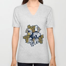 Nouveau white tigers // navy blue background yellow leaves silver lines white animals Unisex V-Neck