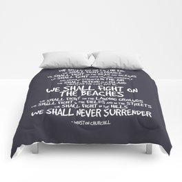 We Shall Fight on the Beaches Quotes Comforters