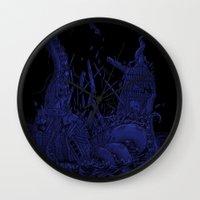 kraken Wall Clocks featuring Kraken by Salih Gonenli