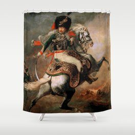 """Théodore Géricault """"Officer of the Chasseurs charging on horseback"""" Shower Curtain"""