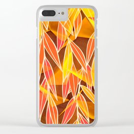 Bright Golden Orange Leaves Floral Print Clear iPhone Case