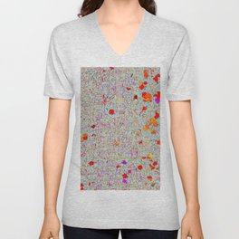 psychedelic abstract art texture background in orange pink red Unisex V-Neck