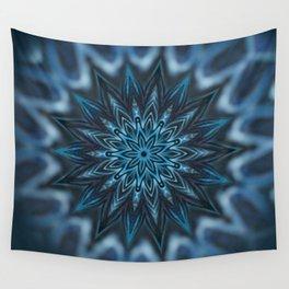 Blue Ice Swirl mandala Wall Tapestry