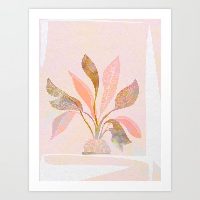 Blush Jungle Home Plant Art Print