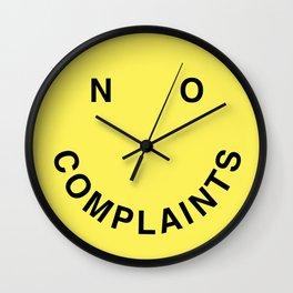 No Complaints Yellow + Black Wall Clock