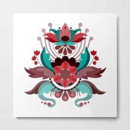 Kurbits Red/Turquoise Metal Print