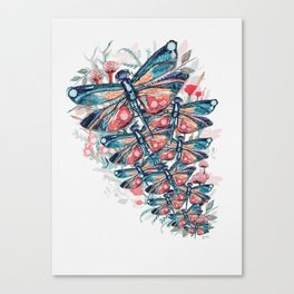 Rose Gold Dragonfly Garden | Pastel Canvas Print