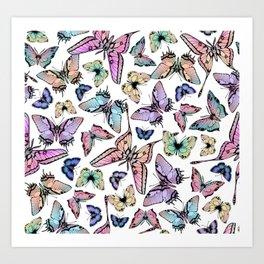 Ombre Rainbow Butterflies Art Print