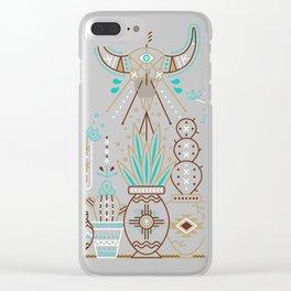 Santa Fe Garden – Navy Clear iPhone Case