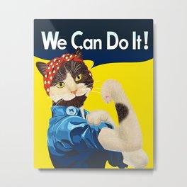 Rosie the Riveter Cat - We Can Do It! Metal Print