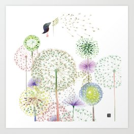 DANDELION FUN Art Print