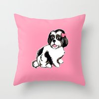 shih tzu Throw Pillows featuring Shih Tzu Puppy  by Artist Abigail