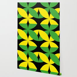 Green Yellow four-leaf clover in a strong deep dark black sky. They are hugging.They love each other Wallpaper