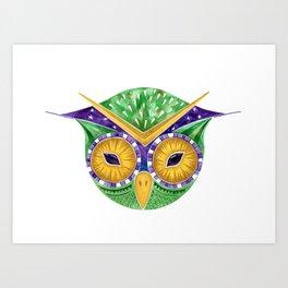 Nursery Green Owl Art Print