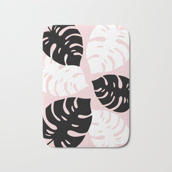 Palm Leaves on Pink Bath Mat
