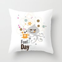 pocket fuel Throw Pillows featuring Fuel of  the day by inkdesigner